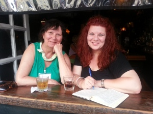 Me with one of my marathon muses, Jeanne Northrup, in the famous window seat at Molly's on the Market, NOWM HQ.